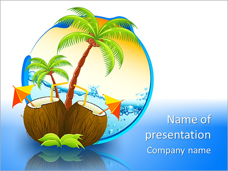 coconut cocktail powerpoint template backgrounds google slides