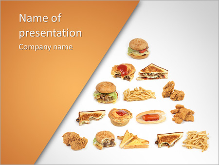 pyramid of fast food powerpoint template & backgrounds id, Modern powerpoint