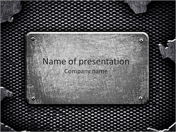 Plaqueta metálica Modelos de apresentações PowerPoint