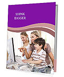 Mother With Kids Use Laptop Presentation Folder