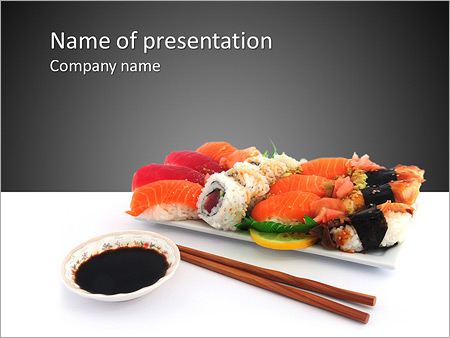 japanese traditional sushi powerpoint template & backgrounds id, Presentation templates