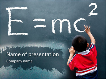 El muchacho escribe Fórmula Plantillas de Presentaciones PowerPoint