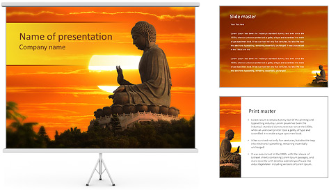 Peaceful Buddha Statue PowerPoint Template Backgrounds ID – Powerpoint Flyer Template