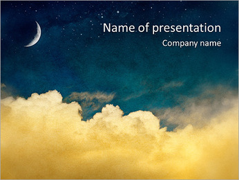 Moon And Cloudy Sky PowerPoint Template