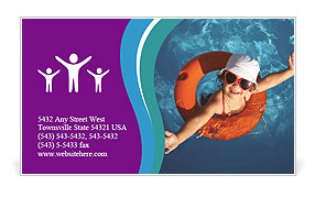 Girl In The Swimming Pool Business Card Template Design Id