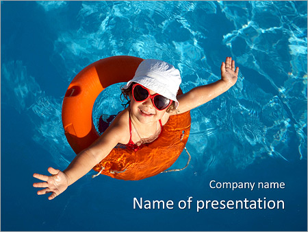 Girl In The Swimming Pool PowerPoint Templates