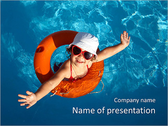 Girl In The Swimming Pool PowerPoint Template