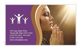 Woman Prays Business Card Template