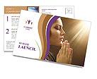 Woman Prays Postcard Template