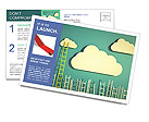 Cloud And Ladder Postcard Template
