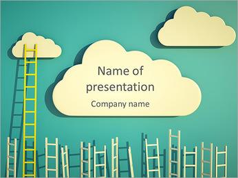 Nube Y Escalera Plantillas de Presentaciones PowerPoint