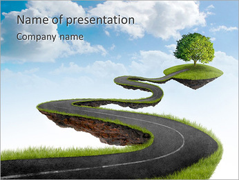 Tree On The Road PowerPoint Template