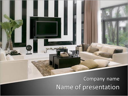 PowerPoint Template: living room with modern furniture and tv vase ...