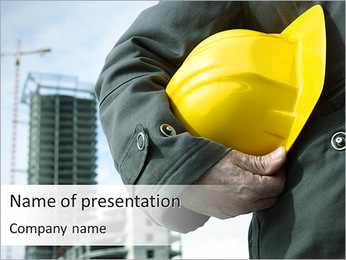 Worker At Construction Area PowerPoint Template