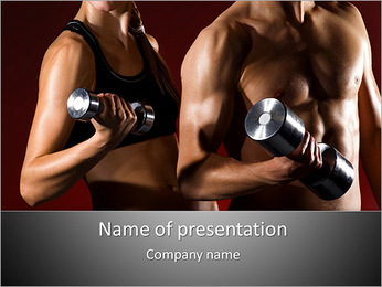 Woman And Man With Barbell PowerPoint Template