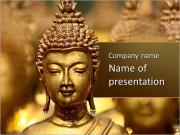 Złoty posąg Buddy Szablony prezentacji PowerPoint