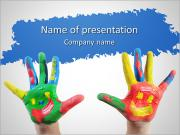 Child's Hands In Paint PowerPoint Templates