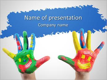 Les mains de childâ € ™ en peinture Modèles des présentations  PowerPoint