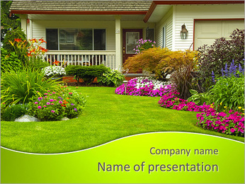 Cottage With Flowers PowerPoint Template