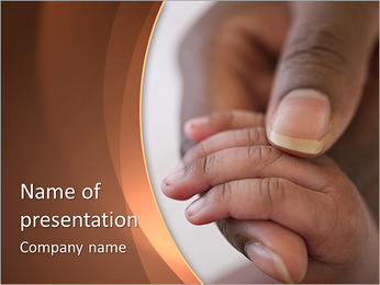 Mama Holds Baby's Hand PowerPoint Template