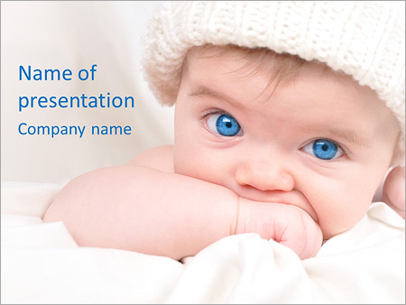 blue-eyed baby powerpoint template, backgrounds & google slides - id, Template For Children Clothing Presentation, Presentation templates