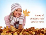 Lady With Yellow Leaves PowerPoint Templates