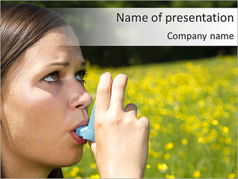 Woman Uses Respirator PowerPoint Template