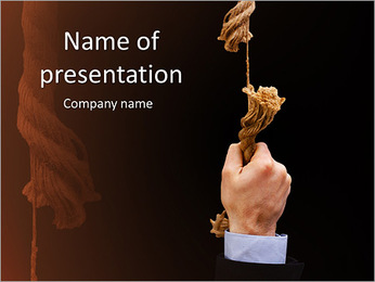 Businessman Holding Rope PowerPoint Template