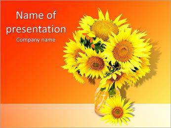 Tournesols dans le vase Modèles des présentations  PowerPoint