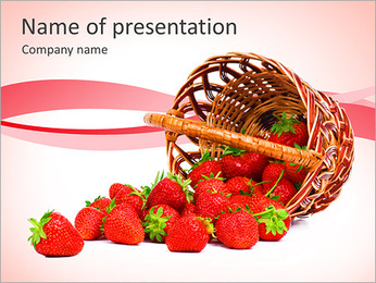 Busket With Strawberry PowerPoint Template
