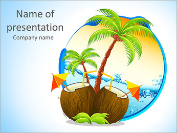Palms And Coconuts PowerPoint Template
