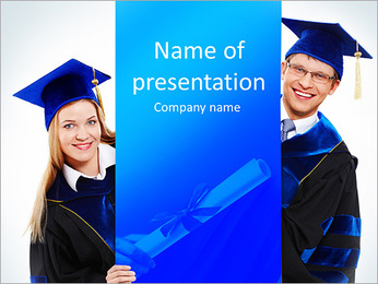 Two University Graduates PowerPoint Template