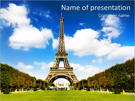 tour to paris powerpoint template & backgrounds id 0000004644, Modern powerpoint