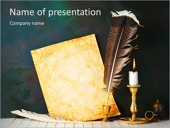 Feather And Candle PowerPoint Template