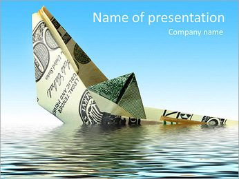 Sink Of Dollar PowerPoint Template
