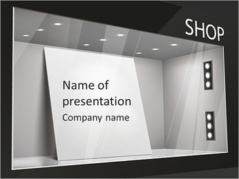 Storefront with poster for your design PowerPoint Template