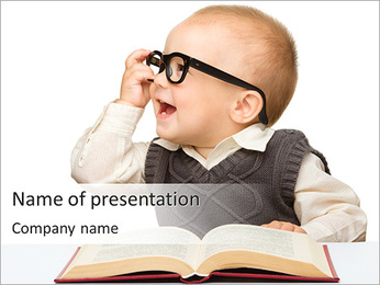 Baby Wears Glasses PowerPoint Template