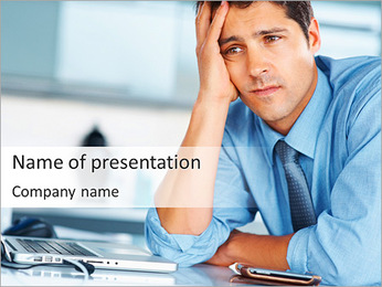 Very Tired Office Worker PowerPoint Template