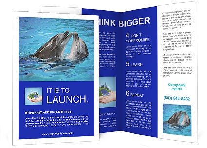 Dolphins in water brochure template design id 0000004722 for Water brochure template