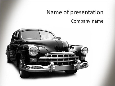 Black Retro Car Powerpoint Template Backgrounds Id 0000004740