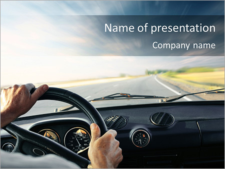 man in the car powerpoint template & backgrounds id 0000004753, Modern powerpoint