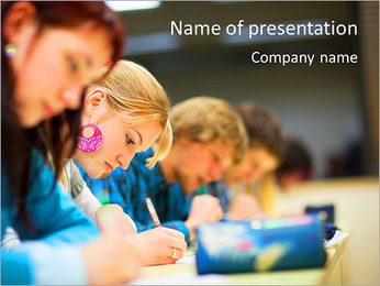 Students At Exam PowerPoint Template