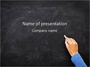 Teacher Writes On Blackboard PowerPoint Template