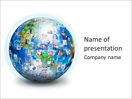 global communication powerpoint template & backgrounds id, Modern powerpoint