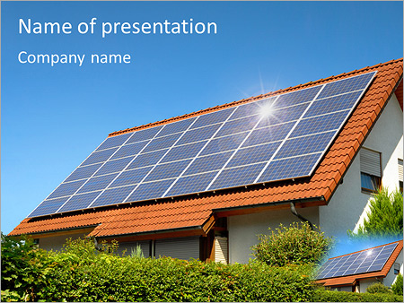 Solar Panel On Roof Powerpoint Template Backgrounds Id 0000004810