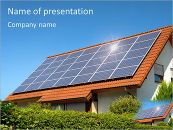 Solar Panel On Roof PowerPoint Template