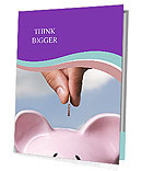 Saving, male hand putting a coin into piggy bank Presentation Folder