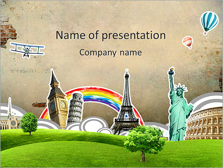 travel round the world powerpoint template & backgrounds id, Powerpoint templates