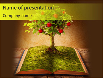 Fruit Tree In Book PowerPoint Template