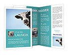 Funny smiling black and white cow on blue clear background Brochure Templates